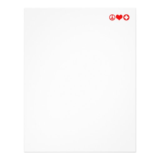 Peace Love and Health Care red Customized Letterhead
