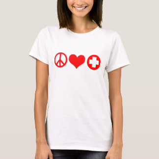 Peace Love and Health Care red.png T-Shirt