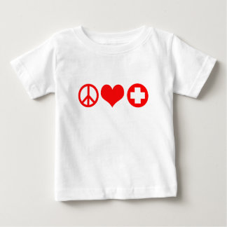 Peace Love and Health Care red Infant T-shirt