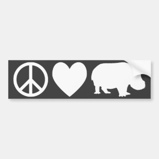 Peace Love and Hippos Bumper Sticker