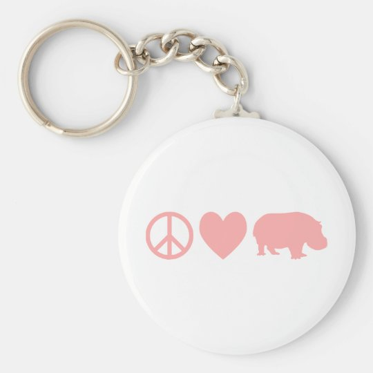 Peace Love and Hippos Keychain