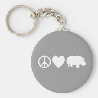 Peace Love and Hippos Keychain