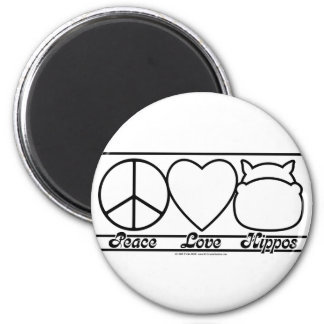 Peace Love and Hippos Refrigerator Magnet