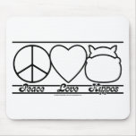 Peace Love and Hippos Mouse Pad
