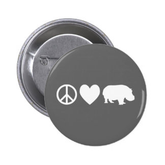 Peace Love and Hippos Pinback Button