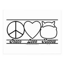 Peace Love and Hippos Postcard