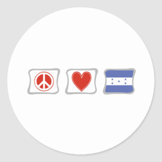 Peace Love and Honduras Squares Classic Round Sticker