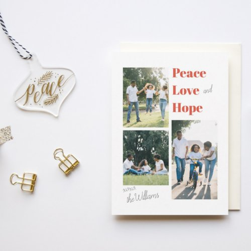 Peace Love And Hope Flat Holiday Card