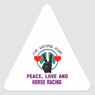 Peace Love And Horse Racing. Triangle Sticker