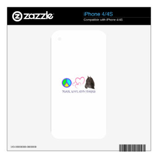 PEACE LOVE AND HORSES DECALS FOR iPhone 4