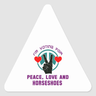Peace Love And Horseshoes. Triangle Sticker