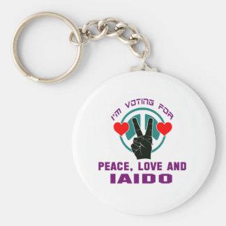 Peace Love And Iaido. Basic Round Button Keychain