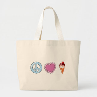 Peace Love and Ice Cream Jumbo Tote Bag