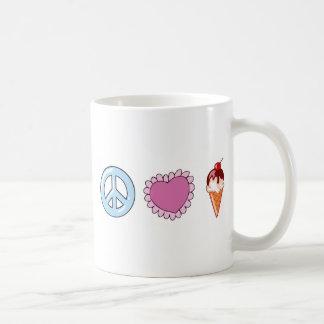 Peace Love and Ice Cream Coffee Mug