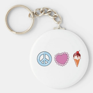 Peace Love and Ice Cream Keychain