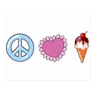 Peace Love and Ice Cream Postcard