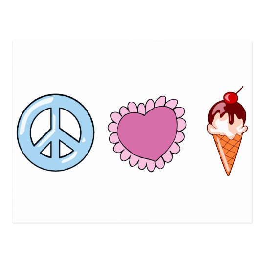 Peace Love and Ice Cream Postcard
