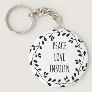 Peace Love and Insulin Keychain