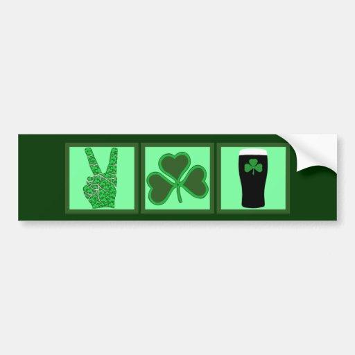 Peace,love and Irish beer Bumper Sticker