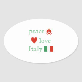 Peace Love and Italy Oval Sticker