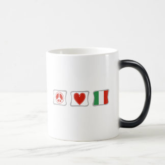 Peace Love and Italy Squares Magic Mug