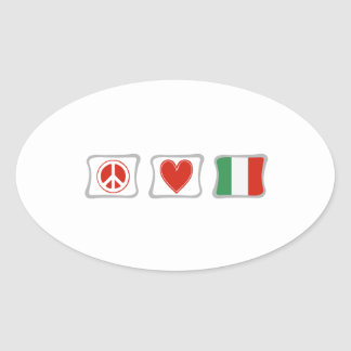 Peace Love and Italy Squares Oval Sticker