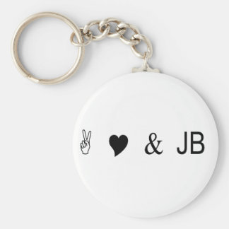 peace love and jb basic round button keychain