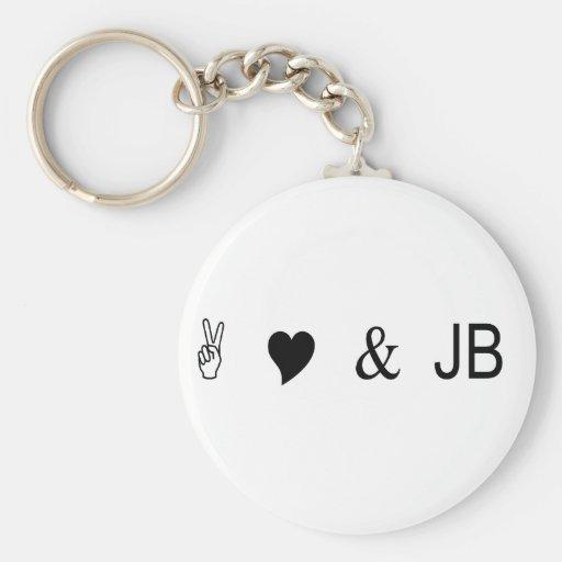 peace love and jb key chains