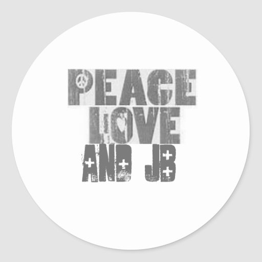 peace_love, and jB Round Stickers