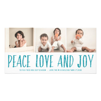 Peace Love and Joy Blue Holiday Photo Card