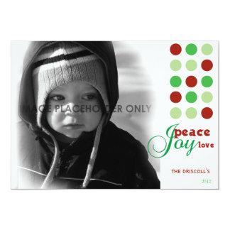 """Peace, Love and Joy Christmas Photo Card 5"""" X 7"""" Invitation Card"""