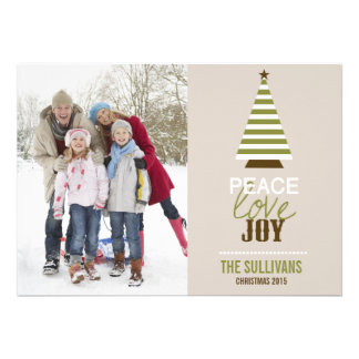 Peace Love and Joy Christmas Tree Photo Card
