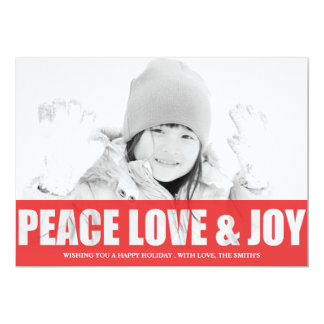 PEACE LOVE AND JOY  CUT OUT PHOTO CARD PERSONALIZED INVITE