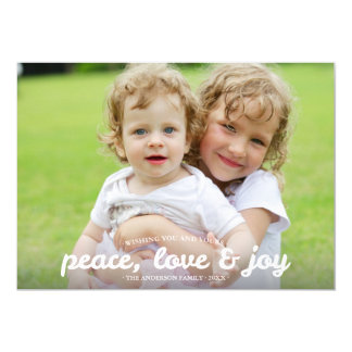 Peace Love and Joy Holiday Photocard 5x7 Paper Invitation Card