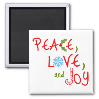 Peace, Love, and Joy 2 Inch Square Magnet