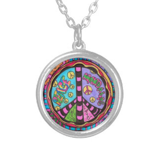 peace, love and joy mandala silver plated necklace