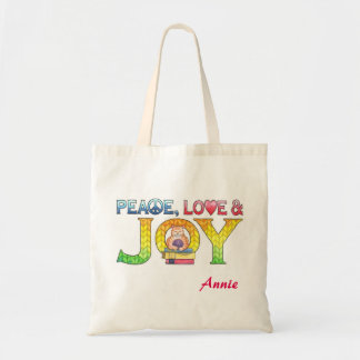 Peace, Love and Joy Personalized Book Tote Bag