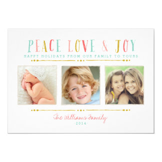 """Peace Love and Joy Photo Collage Holiday Card 5"""" X 7"""" Invitation Card"""