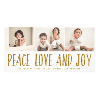 Peace Love and Joy White & Gold Holiday Photo Card