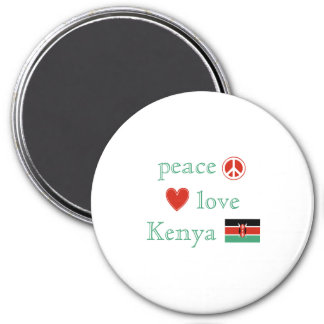 Peace Love and Kenya 3 Inch Round Magnet