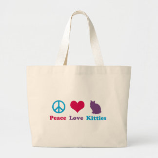 Peace, Love and Kitties Large Tote Bag