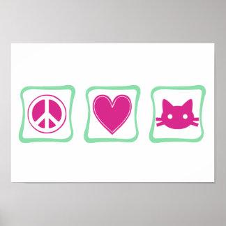 Peace Love and Kitties Print