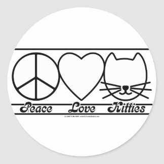 Peace Love and Kitties Round Sticker