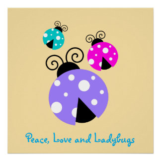 Peace, Love and ladybugs. Poster
