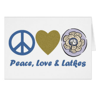 Peace, Love and Latkes Hanukkah Tees and Gifts Greeting Card