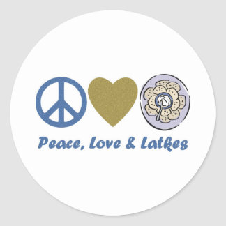 Peace, Love and Latkes Hanukkah Tees and Gifts Classic Round Sticker