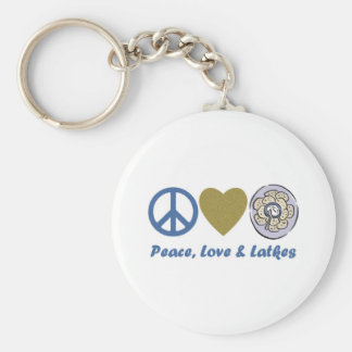 Peace, Love and Latkes Hanukkah Tees and Gifts Basic Round Button Keychain