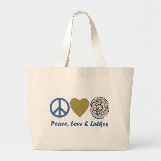 Peace, Love and Latkes Hanukkah Tees and Gifts Large Tote Bag