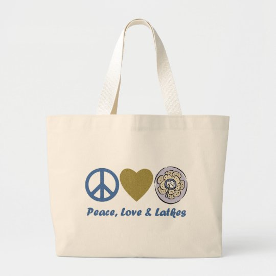 Peace, Love and Latkes Hanukkah Tees and Gifts Large Tote Bag