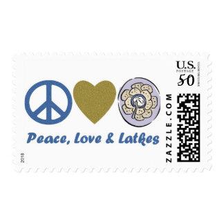 Peace, Love and Latkes Hanukkah Tees and Gifts Postage
